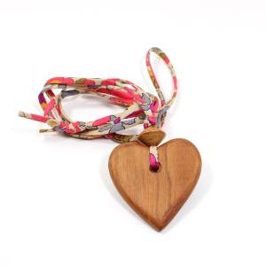 Apple heart Liberty pink - Natural wood Heart  teething nursing fiddle necklace pendant on Liberty Betsy pinks fabric cord