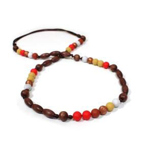 Elements Fired earth 005 - Red earth Silicone wood teething nursing necklace