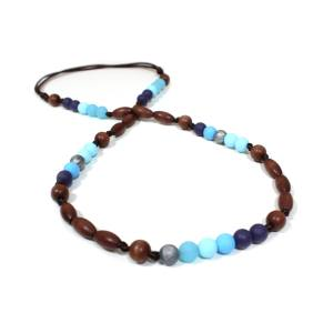 Elements Sea Skies 005 - Blue skies Silicone wood teething nursing necklace