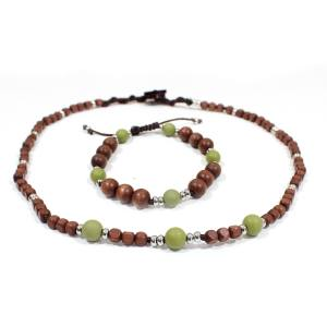 Papa Jewels mens necklace bracelet set Willis olive 1 - Willis Olive green Mens silicone baby proof necklace & bracelet set