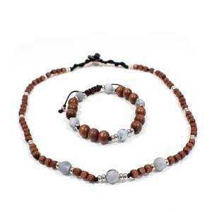 Papa Jewels mens necklacebracelet set Willis grey 2 - Willis Marble grey Mens silicone baby proof necklace & bracelet set