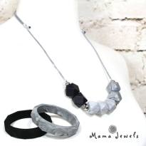 monochrome GIFT SET - Monochrome marble GEO BEADS silicone teething necklace & bangle duo