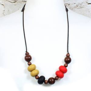 GILLY MUSTARD RED 2 Copy - Gilly dark wood and silicone teething nursing necklace red and mustard