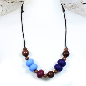 GILLY NAVY PLUM 2 - Gilly dark wood and silicone teething nursing necklace Navy plum