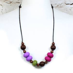 GILLY OLIVE PLUM 2 - Gilly dark wood and silicone teething nursing necklace Olive plum