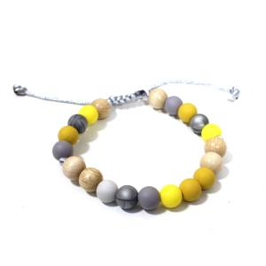 Elements Yellow mustard grey bracelet 2 - Elements Mustard yellow grey Silicone wood teething baby proof bracelet