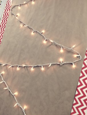 Craft paper bulletin boards lights