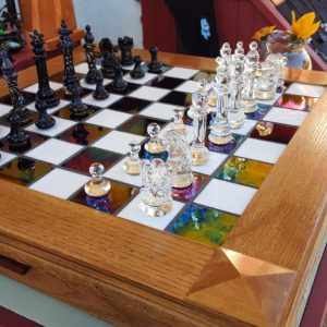 Hand made glass chess set. Contact Kris @ 719-231-9214