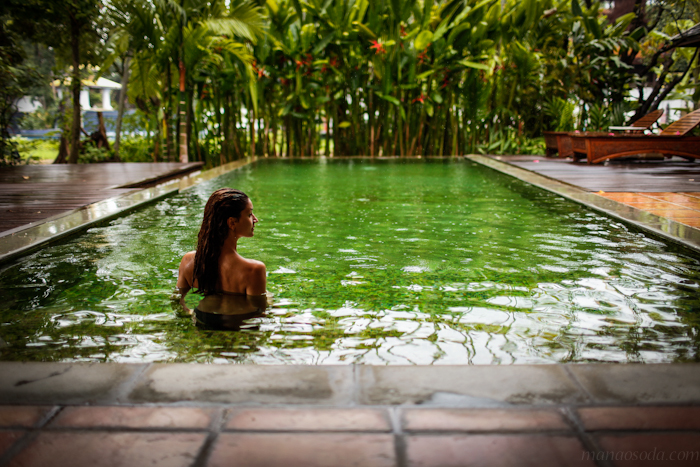 girl in private pool villa dhara dhevi