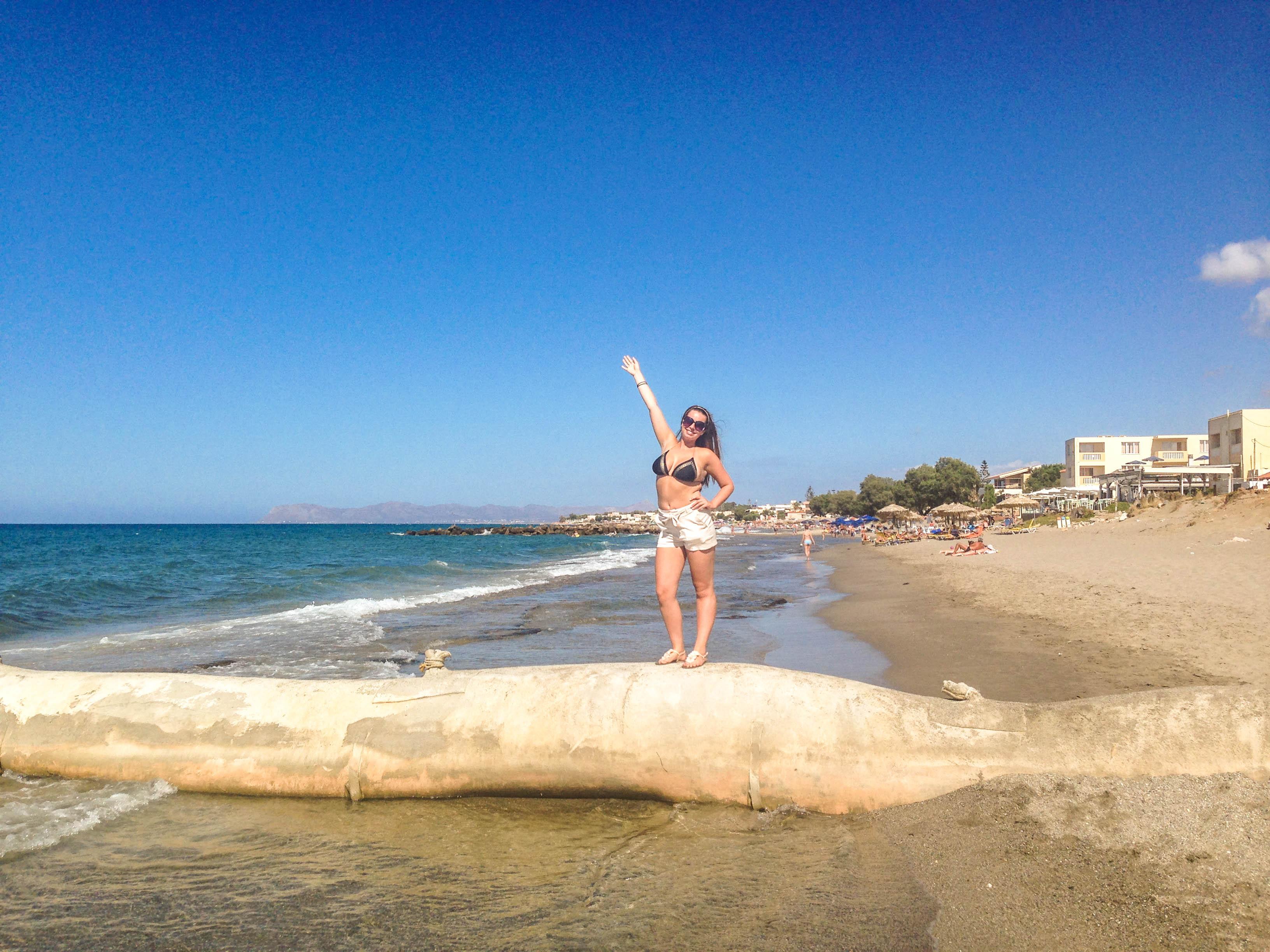 girl wearing bikini in beach chania