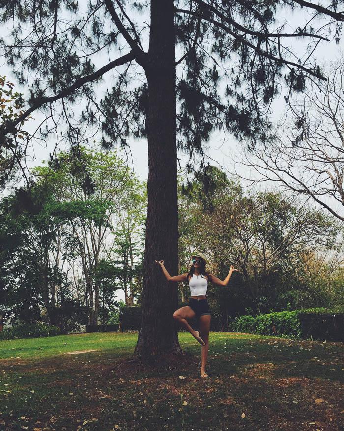 girl posing under tree