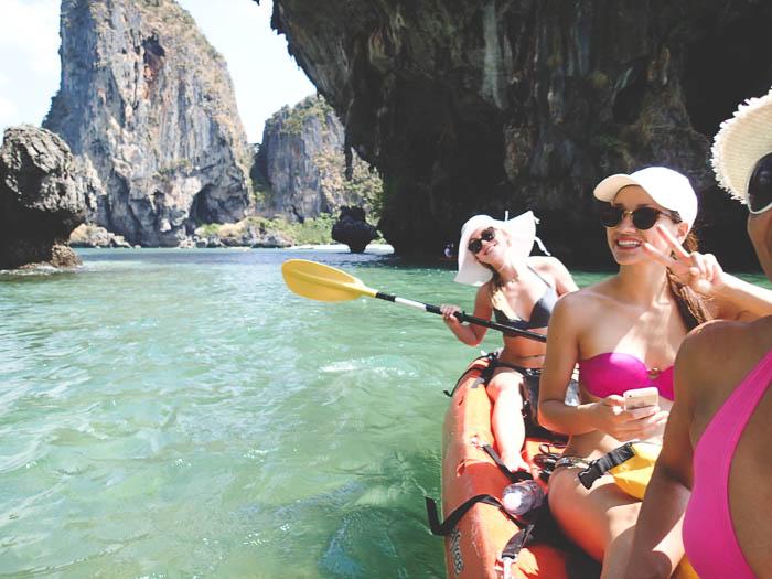 three girls kayaking