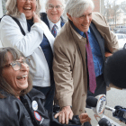 Linda Horan is pictured after a hearing in Merrimack County Superior Court in Concord flanked by friends and her attorney, Paul Twomey, at right. Horan died Feb. 1