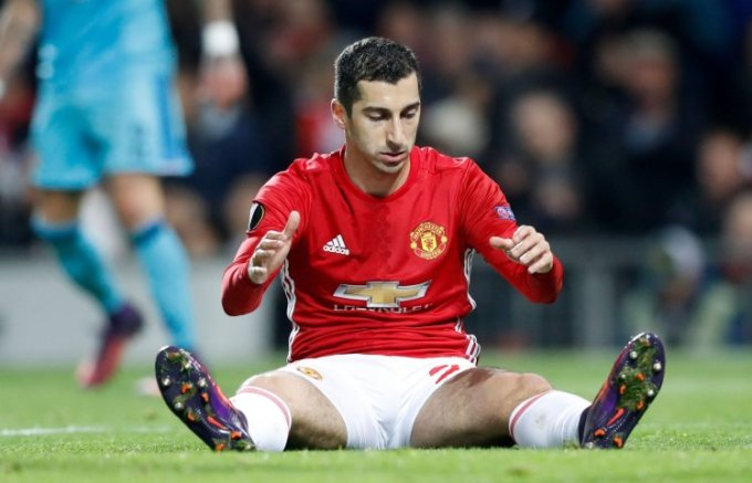 Manchester United's Henrikh Mkhitaryan dejected after a missed chance during the UEFA Europa League match at Old Trafford, Manchester. PRESS ASSOCIATION Photo. Picture date: Thursday November 24, 2016. See PA story SOCCER Man Utd. Photo credit should read: Martin Rickett/PA Wire