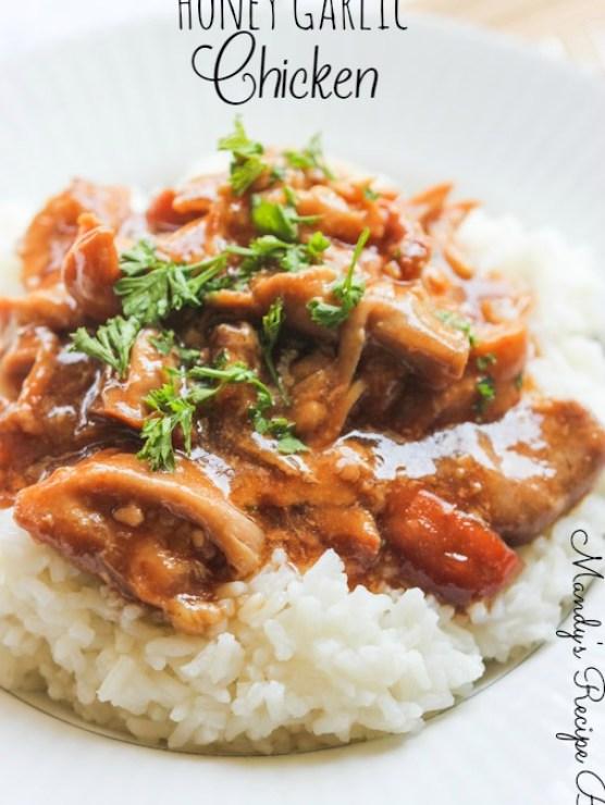 Slow Cooker Honey Garlic Chicken | Mandy's Recipe Box