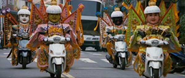 The eight generals, a staple of Taiwanese festivals, arrive on motorcycles