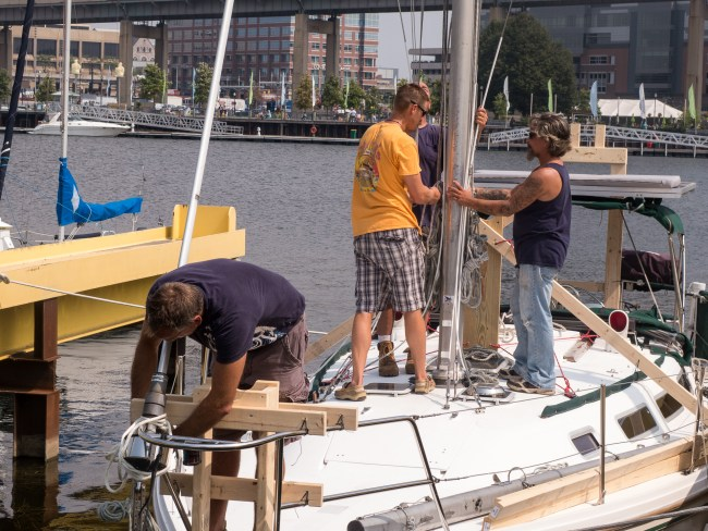 Jim removing the forestay.
