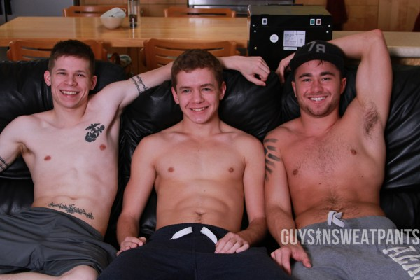 Dillon Anderson and Leo Sweetwood tag-team Ian levine on gay porn site Guys In Sweatpants.