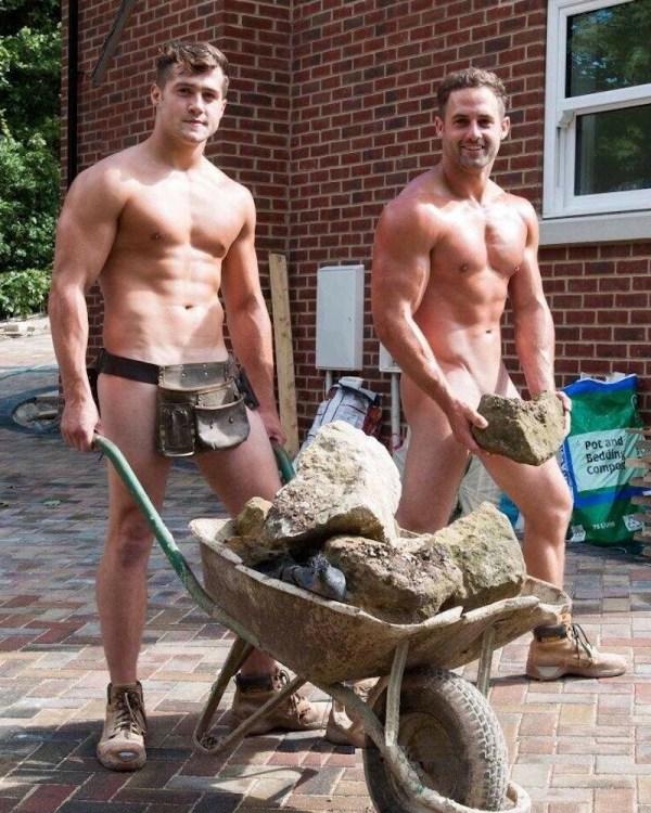 hot dudes with a wheelbarrow