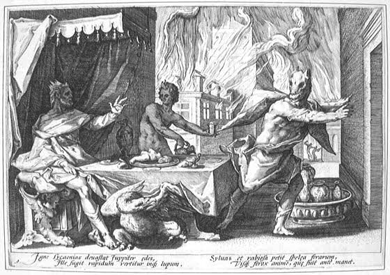 Zeus turning Lycaon into a wolf; engraving by Hendrik Goltzius. ( Wikimedia )