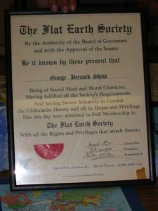 George Bernard Shaw Flat Earth Society Certificate