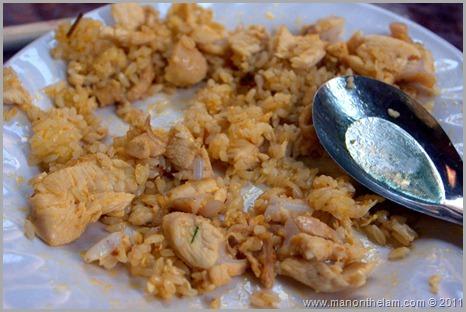 Chicken Fried Rice with chicken bone, Hanoi Vietnam