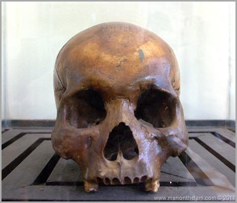 human skull at tuol sleng prison Phnom Penh