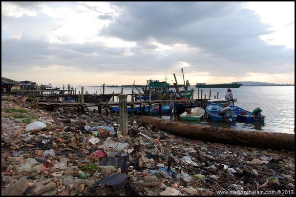 Garbage along the beach in Krong Koh Kong,  Cambodia