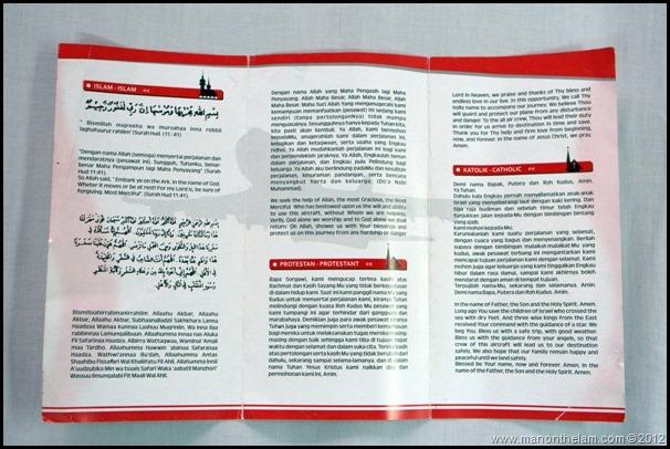 Lion Air Indonesia Invocation Prayer Card inside Alaska Airlines