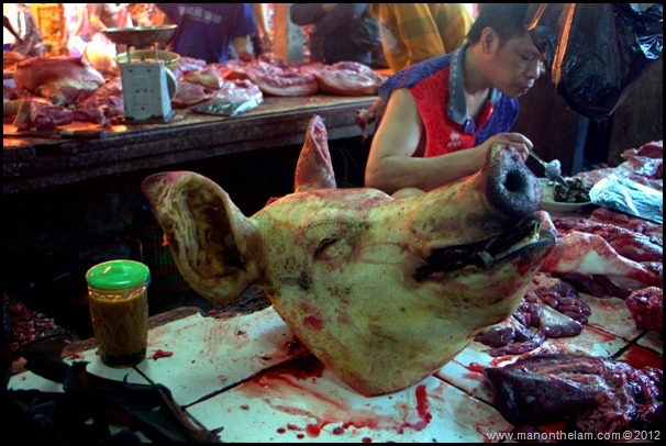 Severed Pig's head at Tomohon Traditional Market, Tomohon, Sulawesi, Indonesia