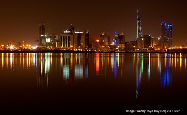 Manama Bahrain skyline at night