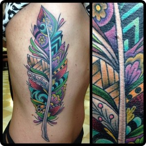 professional tattoo artists, Custom feather side panel by Geno Somma