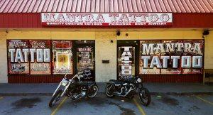 Motorcycles at tattoo shop