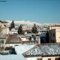 Paisagem nevada em L' Aquila, Itália