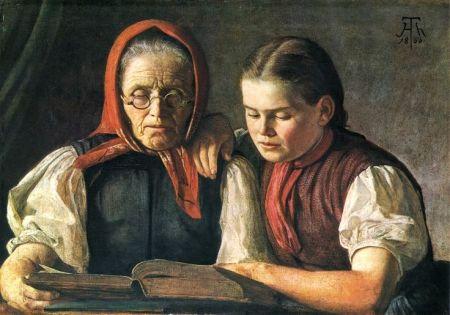 Mutter und Schwester des Künstlers 1866 Öl auf Pappe 58,5 x 85 cm