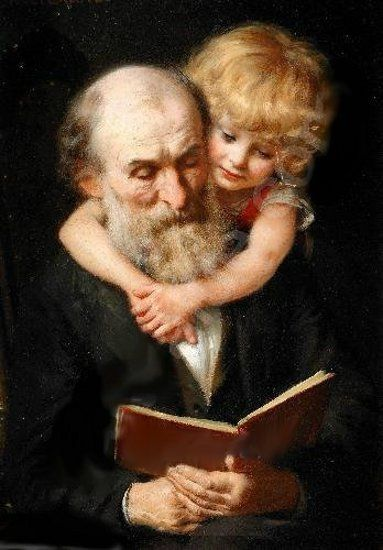 vecchio e bimbo leggono