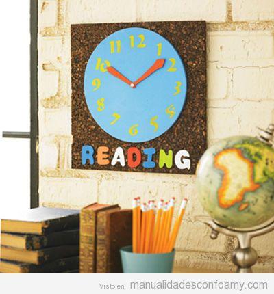 Reloj de pared hecho con foamy - Manualidades relojes infantiles ...