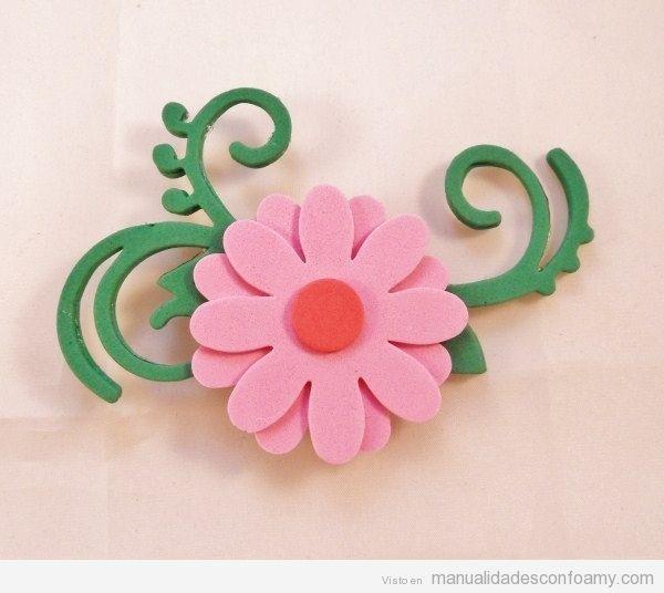 Flores manualidades con foamy todo sobre las - Broches para manualidades ...