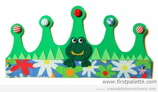 Manualidades foamy niños, corona de cumpleaños con rana