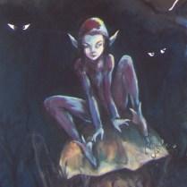 lutin sur un champignon nuit