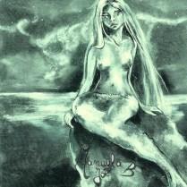 dessin vert sirène au clair de lune sur un rocher