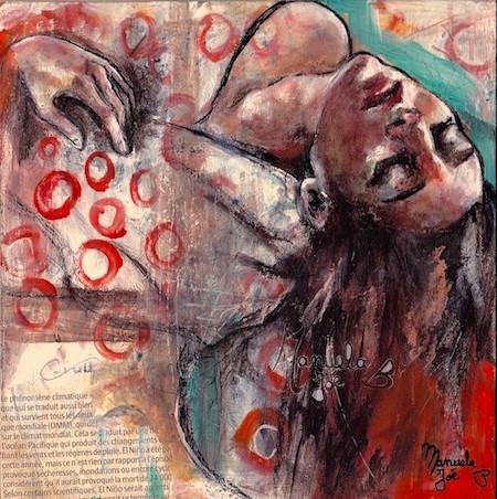 peinture nina tête penchée en arrière pois rouges