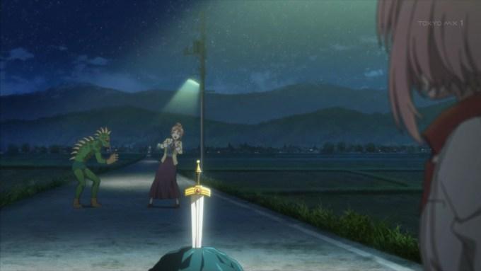 聖剣とチュパカブラと木春由乃と四ノ宮しおり(サクラクエスト1話画像)