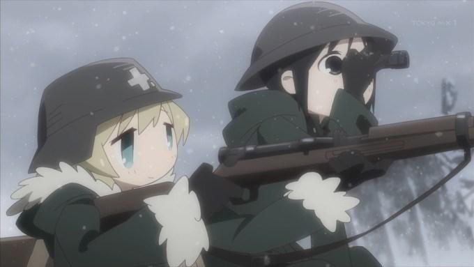 射撃訓練をするユーリとチト