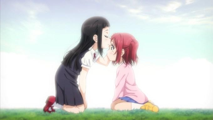 ルビィのおでこにキスをするダイヤ