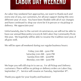 Labor Day 2020 Post