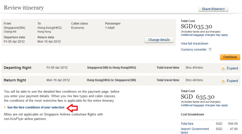 Singapore Airlines: Where are the Fare Rules?