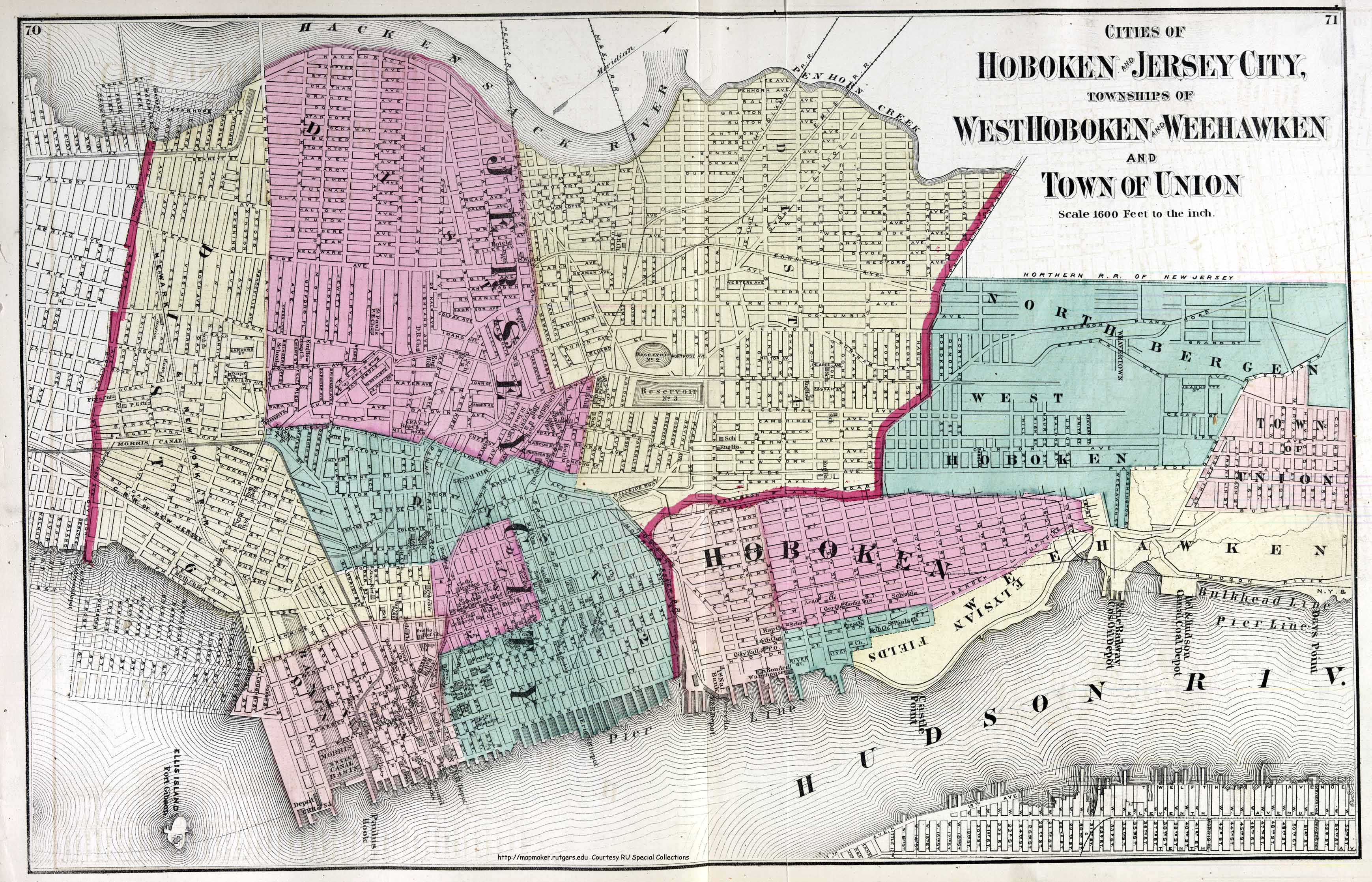 Historical Hudson County  New Jersey Maps HOBOKEN  JERSEY CITY  WEEHAWKIN  UNION CITY 1872