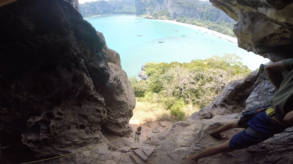 Rappeling Railay Beach. Rock Climbing Railay, Thailand
