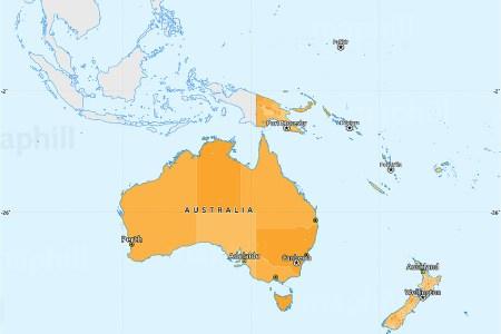 political simple map of australia oceania single color outside